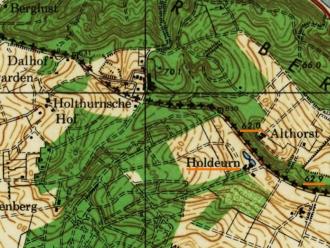Holdeurn op militaire kaart 1944